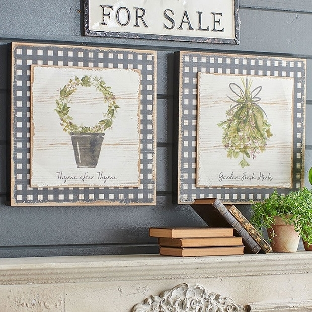 Herb Gingham Print Wall Art, Set Of 2 | Antique Farmhouse For Herb Wall Art (Image 7 of 20)