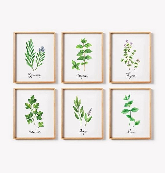 Herbs Print Set, Set Of 6 Herb Printables, Watercolor Herbs, Kitchen Throughout Herb Wall Art (Image 11 of 20)