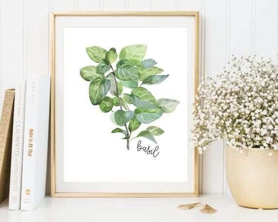 Herbs Printable, Basil Printable, Herbs Wall Art, Herbs Print, Basil With Herb Wall Art (Image 12 of 20)