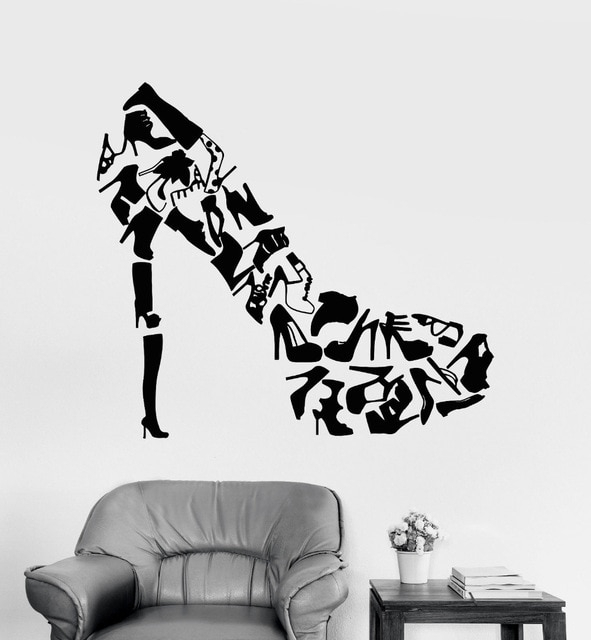 High Heels Shoes Wall Art Stickers Living Room Creative Decor Regarding Fashion Wall Art (Image 14 of 20)