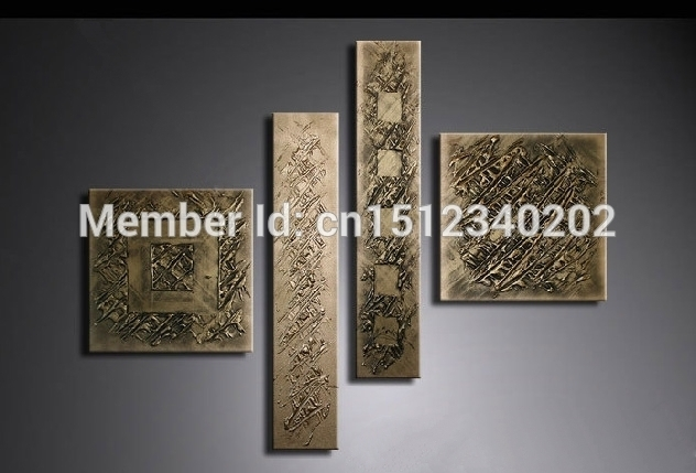 High Quality Hand Made Canvas Wall Arts Thick Textured Bronze Canvas Throughout Bronze Wall Art (Image 13 of 25)