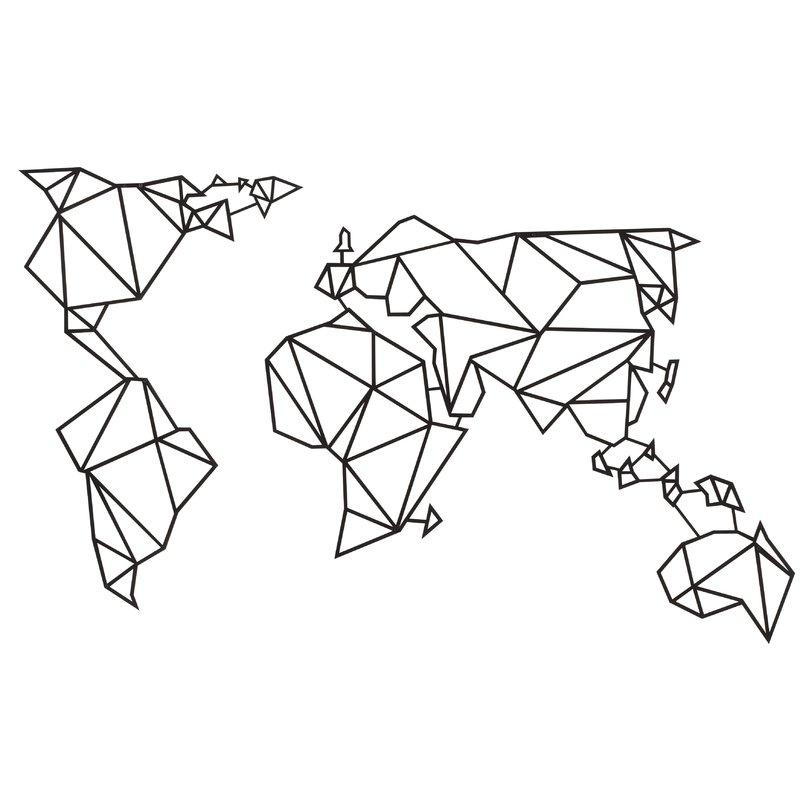 Hokku Designs World Map Geometric Metal Wall Décor | Wayfair.co (View 8 of 25)