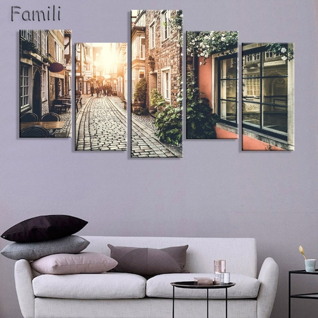 Home Decor 5 Panel Wall Art Oil Painting Canvas Prints Paris City Regarding Panel Wall Art (Image 13 of 25)