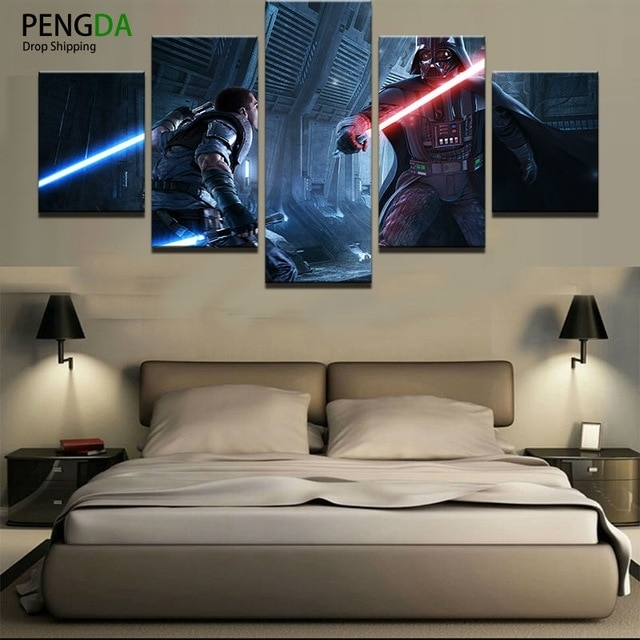 Home Decor Print Canvas Oil Painting Vintage Wall Art Canvas Throughout Star Wars Wall Art (Image 3 of 10)