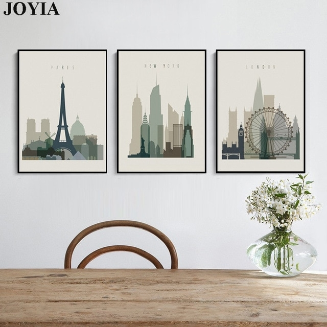 Home Decor Wall Art Abstract City Silhouette Retro Canvas Pictures Intended For Decorative Wall Art (Image 10 of 20)