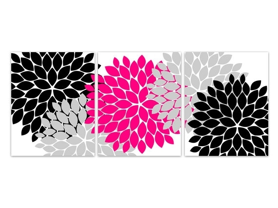 Home Decor Wall Art, Instant Download Pink And Black Flower Burst With Pink Wall Art (View 4 of 25)