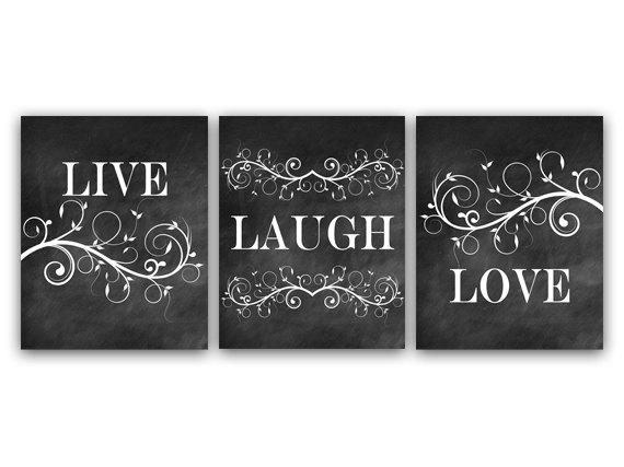 Home Decor Wall Art, Live Laugh Love Art, Chalkboard Wall Art Canvas Throughout Live Laugh Love Wall Art (Image 4 of 25)