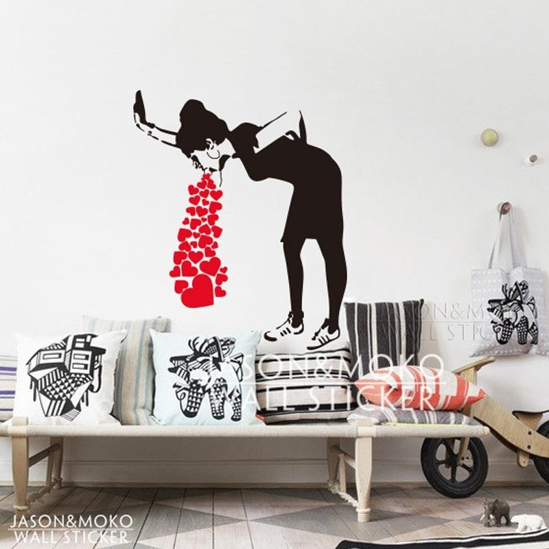 Home Decor Wall Sticker Banksy Style Lovesick Girl Woman Heart Love For Home Decor Wall Art (View 7 of 20)