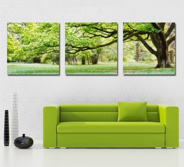 Home Decoration 3 Piece Canvas Wall Art Tree Picture Canvas Painting In Green Wall Art (Image 18 of 25)