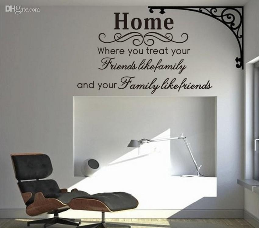Home Family Friends Spiritual Wall Quote Decal Decor Sticker Throughout Wall Art Sayings (Image 4 of 25)