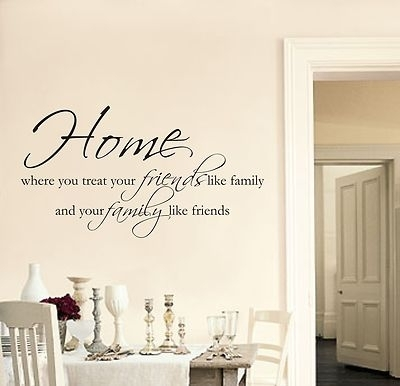Home Friends Family Wall Art Sticker Quote Living Room Hallway Throughout Quote Wall Art (View 7 of 25)