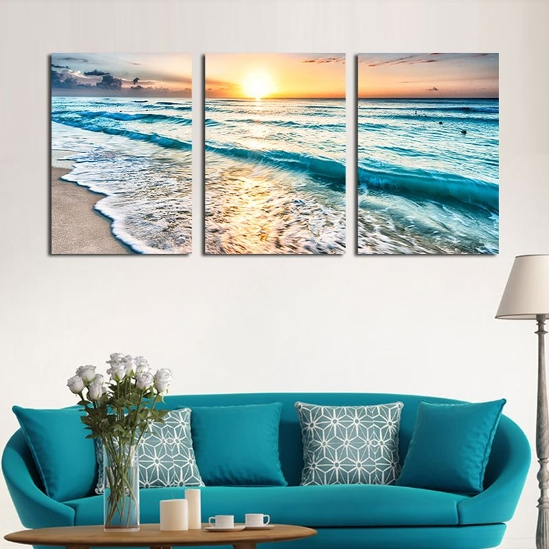 Home & Garden Seascape Sunset Triptych Wall Art 3 Panel Sea Waves Pertaining To Triptych Wall Art (View 18 of 25)