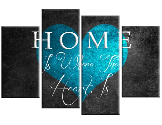 Home Is Where The Heart Is Canvas Wall Art Print 40 Inch Turquoise Grey Throughout Turquoise Wall Art (Image 4 of 20)