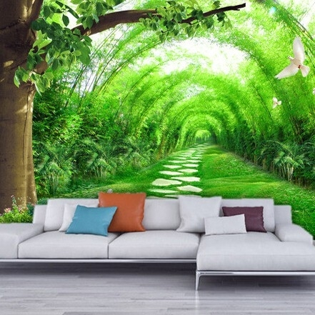 Home Living Room Tv Background 3D Bamboo Mural Thai Wall Art Hotel Pertaining To Nature Wall Art (Image 12 of 25)