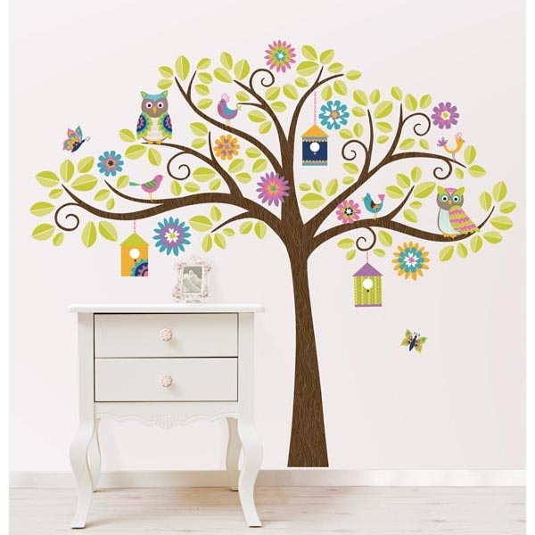 Hoot And Hangout Tree Kit Wall Decals – Wallpops For Baby Peel And For Stick On Wall Art (Image 9 of 20)