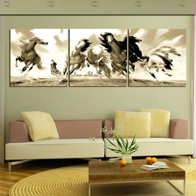 Horse Wall Art 3 Piece Large Animal Canvas Painting Galloping Horses Within Horses Wall Art (Image 6 of 20)