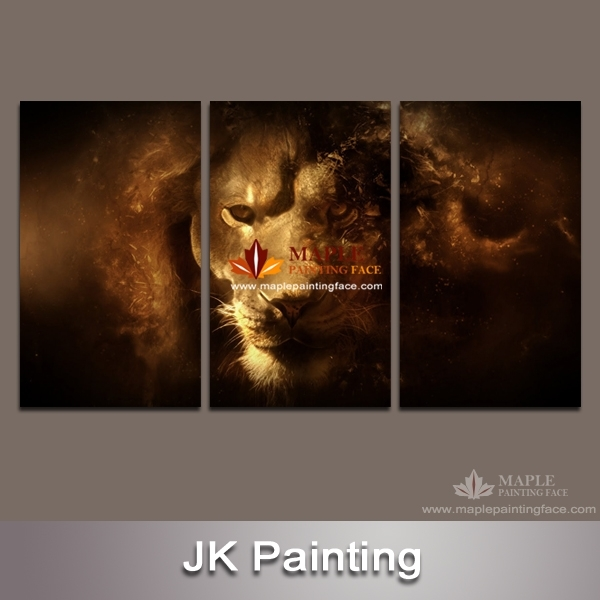 Hot 3 Piece Canvas Art Unstretched Wall Decor Canvas Lion Painting Throughout 3 Piece Canvas Wall Art (Image 15 of 20)