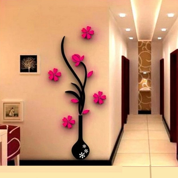 Hot 3D Mirror Wall Stickers Quote Flower Vase Acrylic Decal Home Diy Regarding Acrylic Wall Art (Image 18 of 25)