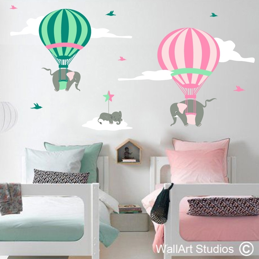 Hot Air Balloons With Elephants | Wall Art Studios Throughout Baby Room Wall Art (Image 15 of 20)
