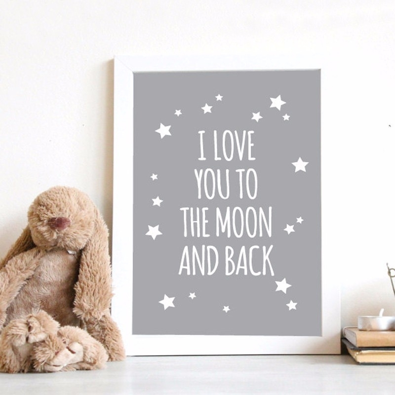 Hot Nursery Quotes I Love You To The Moon And Back Wall Art Poster For I Love You To The Moon And Back Wall Art (View 16 of 20)