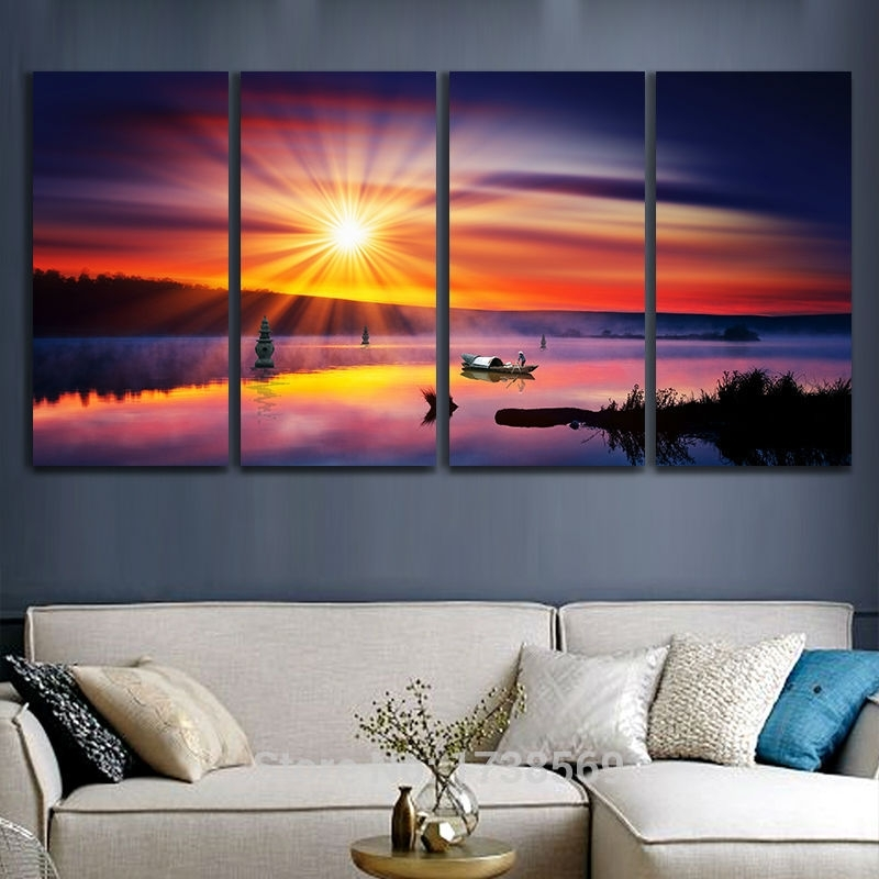 Hot Sale 4Pcs Ocean Canvas Art Printed Painting Oil Painting On Within Ocean Wall Art (Image 10 of 25)