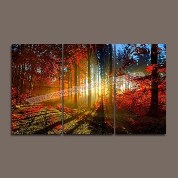 Hot Unframed Wall Art Canvas Painting 3 Piece Canvas Art Prints Red For Multi Piece Wall Art (View 4 of 20)