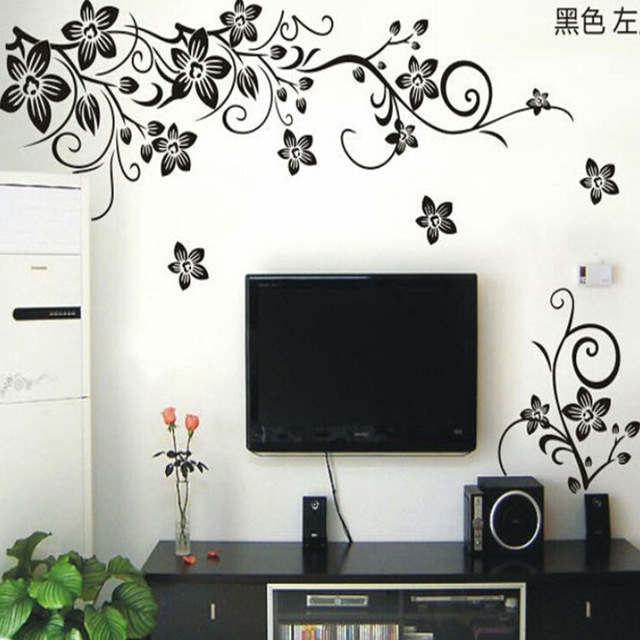 Hot Vine Wall Stickers Flower Wall Decal Removable Art Pvc Home Intended For Wall Sticker Art (Image 4 of 10)