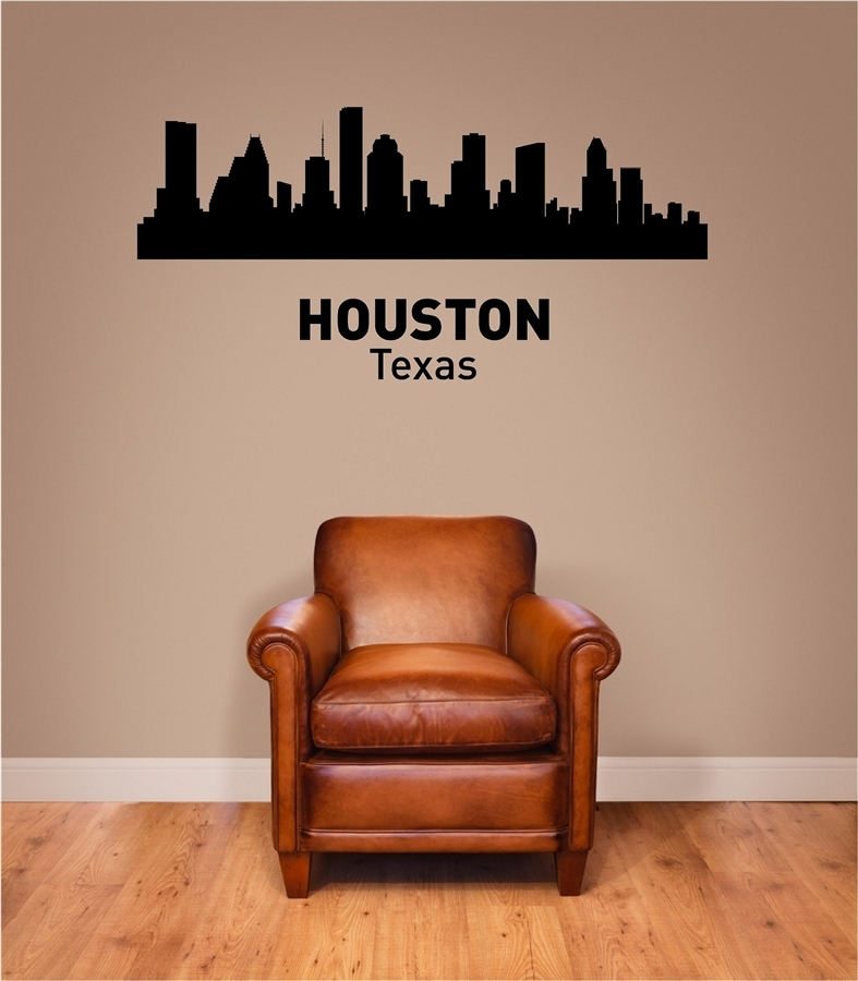 Houston Texas City Skyline Vinyl Wall Art Decal Sticker Pertaining To Texas Wall Art (Image 5 of 25)