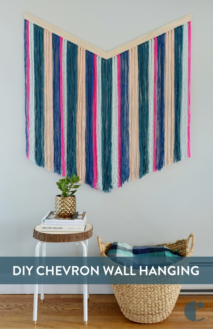 How To: Easy Diy Chevron Yarn Wall Hanging | Curbly Inside Yarn Wall Art (Image 18 of 25)