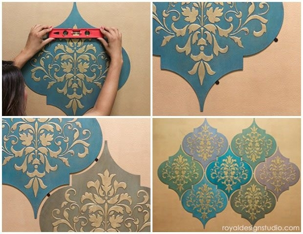 How To Stencil Moroccan Dreams Wall Art Wood Shapes Wall Decor Throughout Moroccan Wall Art (Photo 6 of 25)