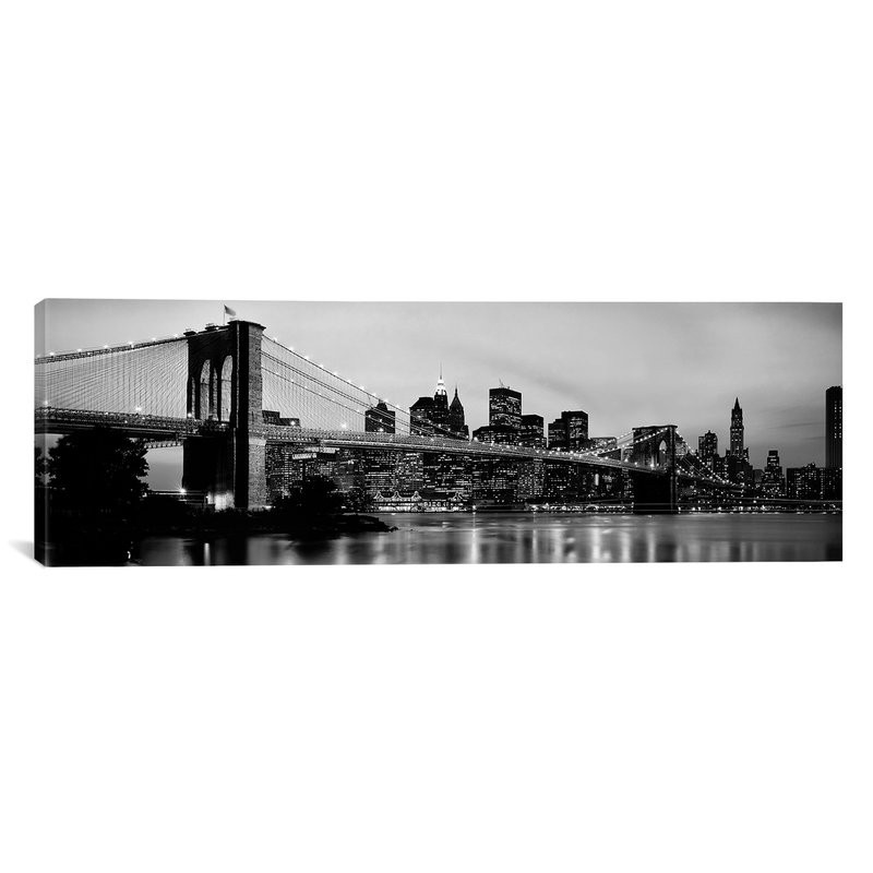 Huenna Brooklyn Bridge Across The East River At Dusk, Manhattan, New Regarding New York Canvas Wall Art (Image 4 of 10)