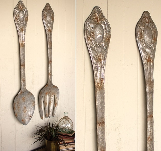 Huge Metal Fork And Spoon Wall Art | Antique Farmhouse Intended For Fork And Spoon Wall Art (Image 15 of 25)