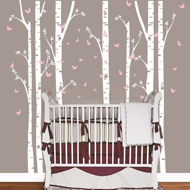 Huge Removable Birch Tree Butterfly Vinyl Wall Art Decals Large Wall In Birch Tree Wall Art (View 21 of 25)