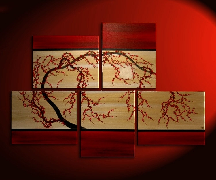 Huge Zen Wall Art Red And Gold Large Painting Contemporary Abstract With Red Wall Art (View 3 of 10)