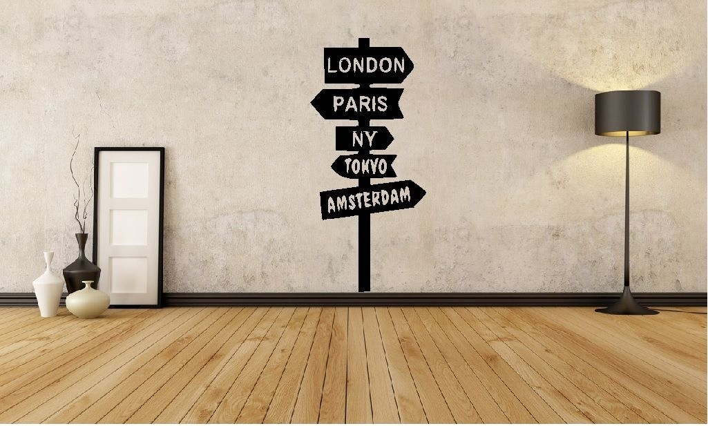 Hwhd World Sign Post London New York Wall Art Decal Home Travel For New York Wall Art (Image 7 of 25)