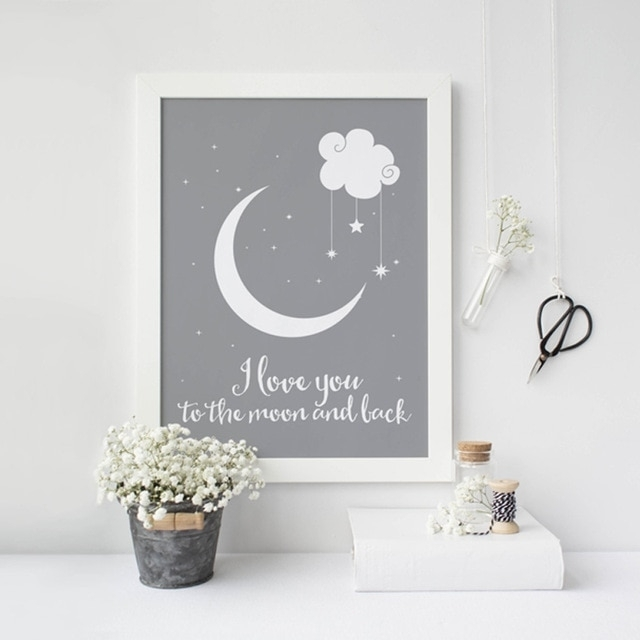 I Love You To The Moon And Back Classic Poster Canvas Paintings within I Love You to the Moon and Back Wall Art