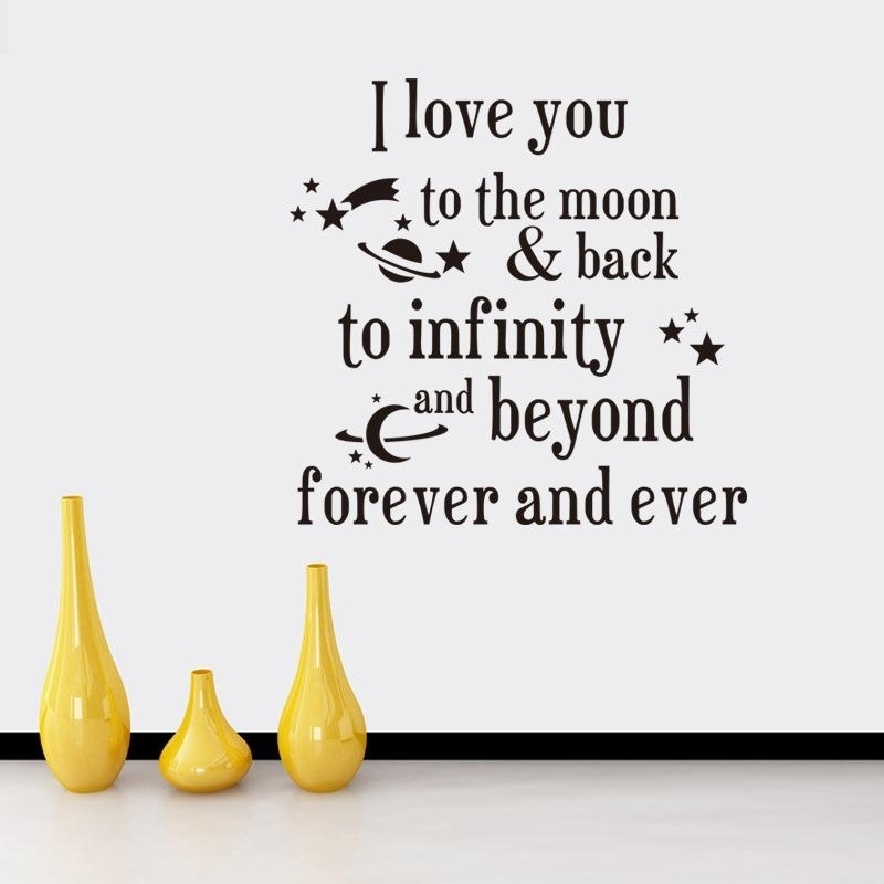 I Love You To The Moon And Back Quotes Wall Stickers Decal Words Pertaining To I Love You To The Moon And Back Wall Art (View 19 of 20)