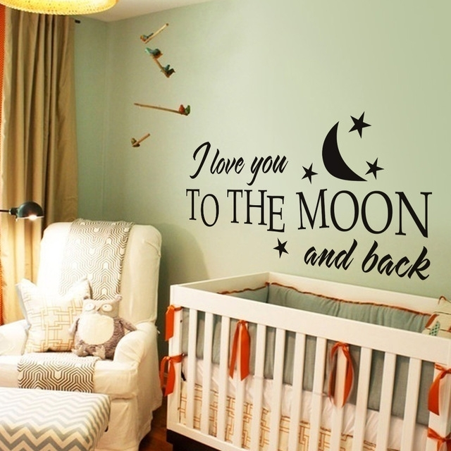 I Love You To The Moon And Back Romantic Love Vinyl Wall Decal In I Love You To The Moon And Back Wall Art (View 11 of 20)