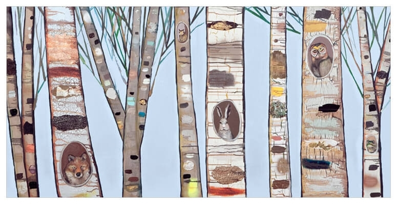 Ice Blue Birch Trees, Scenic Canvas Wall Art | Greenbox inside Birch Tree Wall Art