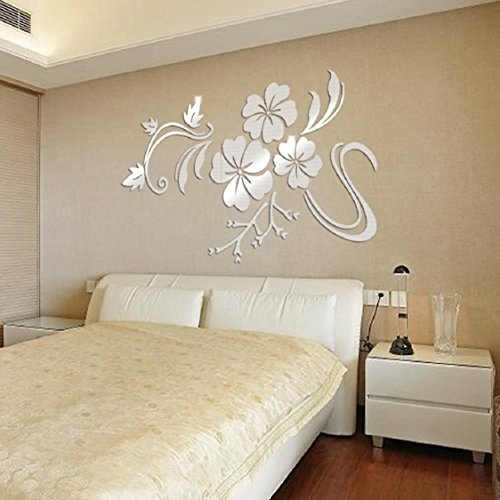 Ikevan 1Set Acrylic Art 3D Mirror Flower Wall Stickers Diy Home Wall In Acrylic Wall Art (Image 19 of 25)