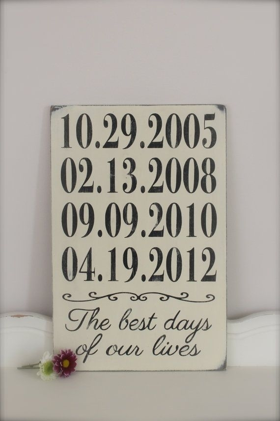 Important Date Sign, Personalized Wood Sign, Custom Date Sign In Personalized Wood Wall Art (Image 8 of 25)
