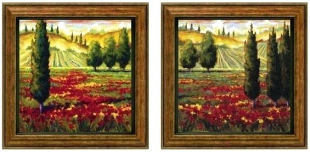 In Bloom Framed Wall Art Set Of 2 Of Pair Green Rustic Framed Tuscan regarding Tuscan Wall Art
