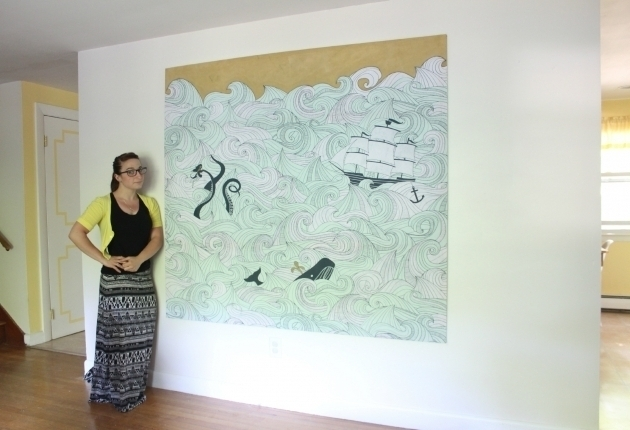 Incredible Diy Stretched Fabric Canvas With A Shower Curtain Regarding Shower Curtain Wall Art (Image 12 of 25)