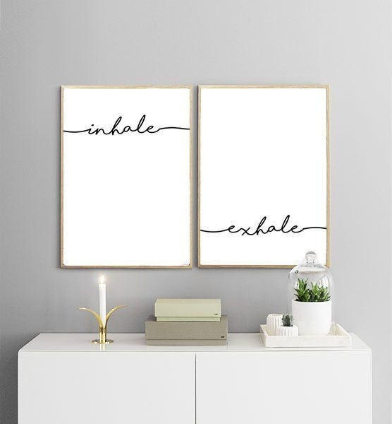 Inhale Exhale Printables | Breathe Print, Yoga Print, Minimalist Art Throughout White Wall Art (Image 6 of 20)