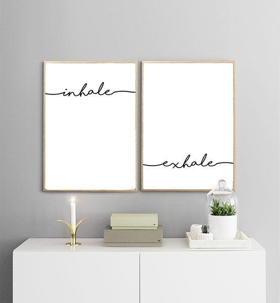 Inhale Exhale Printables | Breathe Print, Yoga Print, Minimalist Art Throughout White Wall Art (Image 6 of 20)