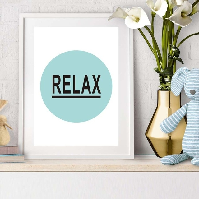 Inspiration Quote Relax Canvas Painting Wall Art Printable Wall With Relax Wall Art (Image 5 of 20)