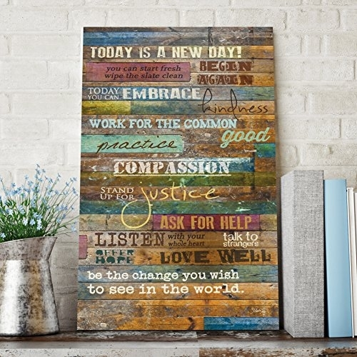 Inspirational Quotes Wall Art - Today Is A New Daymarla Rae 12 X in Inspirational Quotes Wall Art