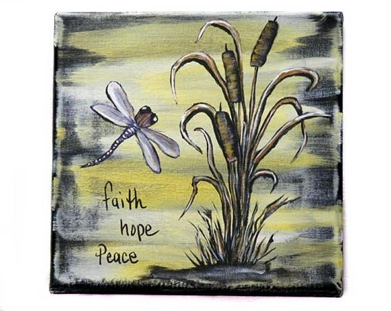 Inspirational Word Art Dragonfly Painting Cattail Wall Art Within Dragonfly Painting Wall Art (View 10 of 25)