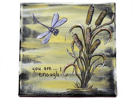 Inspirational Word Art Inspirational Wall Decor Dragonfly Regarding Dragonfly Painting Wall Art (Image 18 of 25)