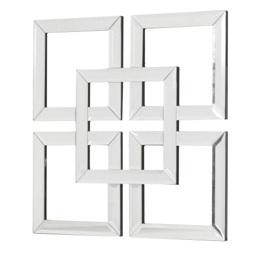 Interlocking Squares Mirror Art In Mirrored Wall Art (View 3 of 20)